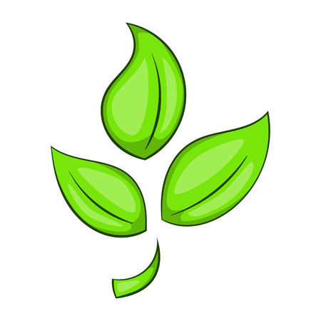 Green plant eco symbol icon in cartoon style isolated on white background vector illustration