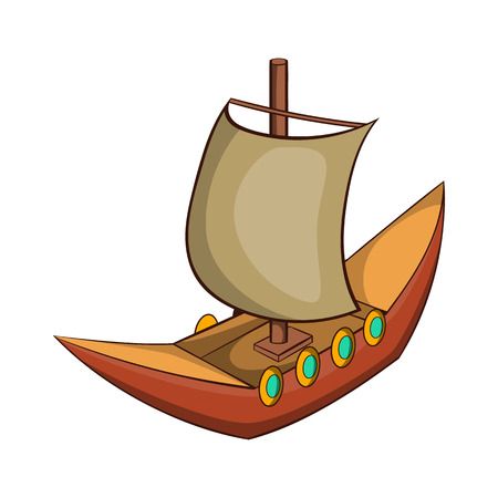 Viking ship icon in cartoon style isolated on white background vector illustration Illustration