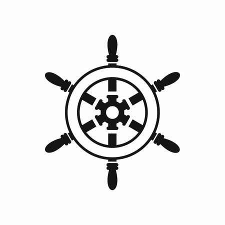 Wheel of ship icon in simple style isolated on white background. Ship control symbol Illustration