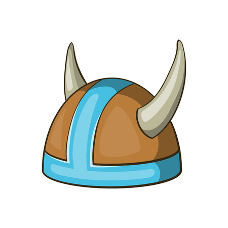 Swedish viking helmet icon in cartoon style isolated on white background vector illustration Illustration