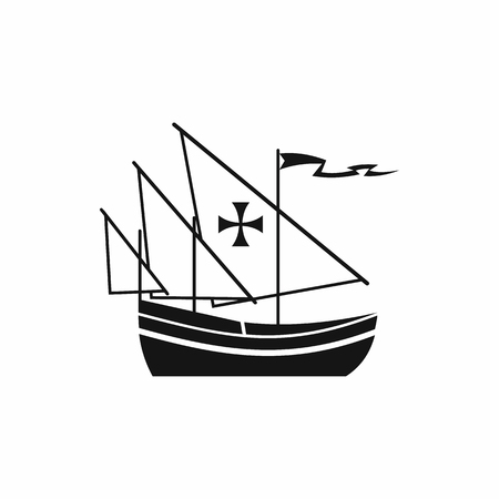 Ship of Columbus icon in simple style isolated on white background. Maritime transport symbol Illustration