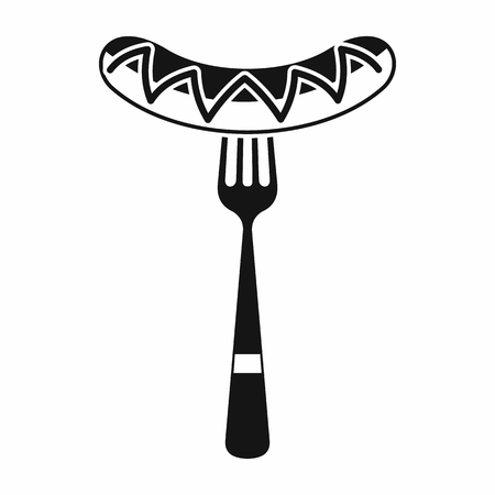 bacon strips: Sausage on a fork icon in simple style isolated on white background. Food symbol Illustration
