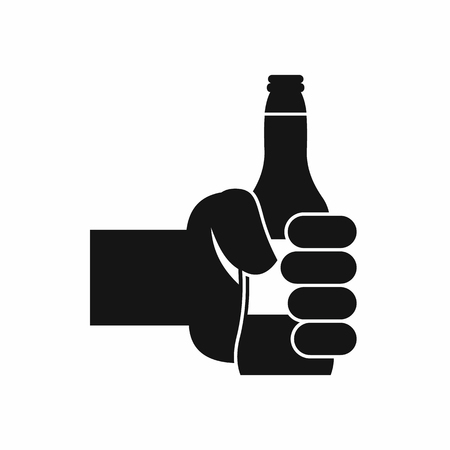 hand holding bottle: Hand holding bottle of beer icon in simple style isolated on white background. Drink symbol