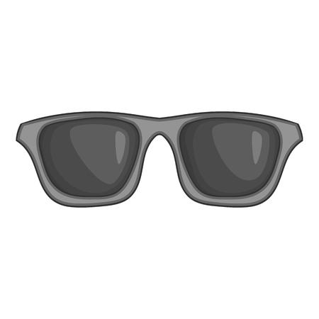 Icona di occhiali di estate in stile monocromatico nero isolato su priorità bassa bianca. Illustrazione di vettore di simbolo di protezione del sole
