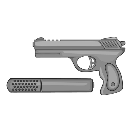 Pistol with a silencer icon in black monochrome style isolated on white background. Weapons symbol vector illustration Illustration