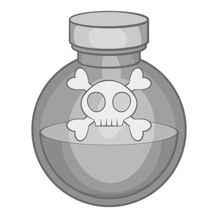 a substance vial: Bottle of poison icon in black monochrome style isolated on white background. Toxic symbol vector illustration