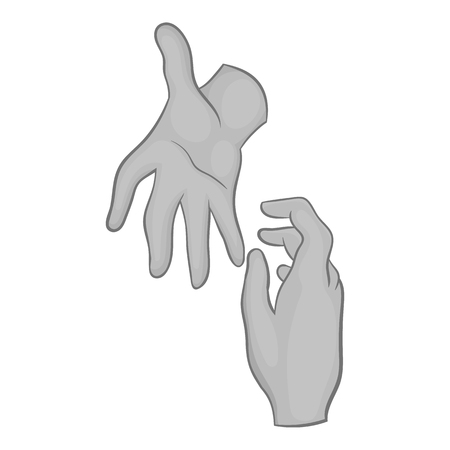 reaches: Hand reaches out to other hand icon in black monochrome style isolated on white background. Help symbol vector illustration