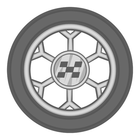 ring road: Wheel from racing car icon in black monochrome style isolated on white background. Sport equipment symbol vector illustration Illustration