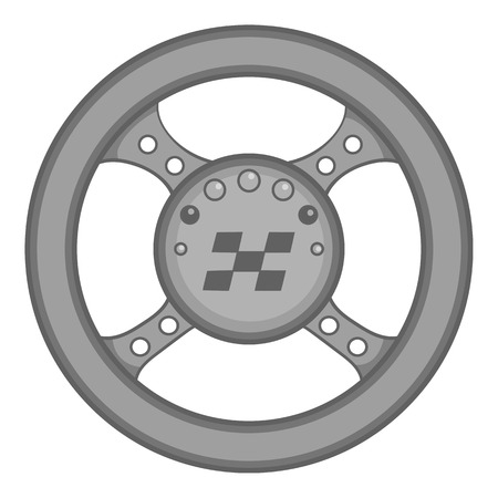 ring road: Racing rudder icon in black monochrome style isolated on white background. Sport equipment symbol vector illustration Illustration