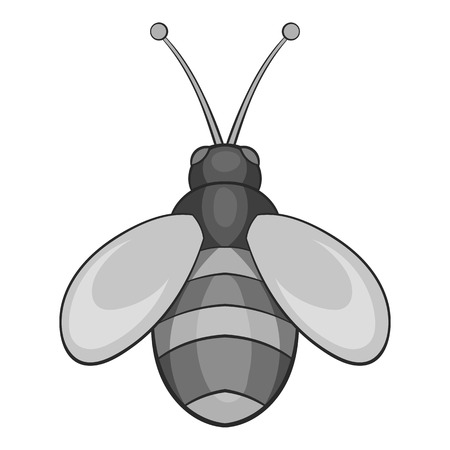 Bee icon in black monochrome style isolated on white background. Insects symbol vector illustration Illustration