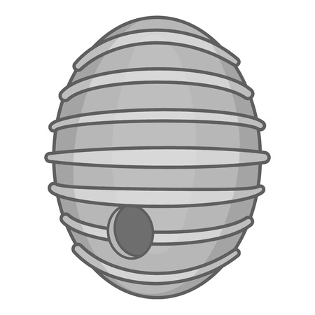 bee house: Round beehive icon in black monochrome style isolated on white background. Bee house symbol vector illustration