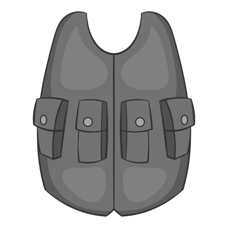vest in isolated: Hunting vest icon in black monochrome style isolated on white background. Clothing symbol vector illustration
