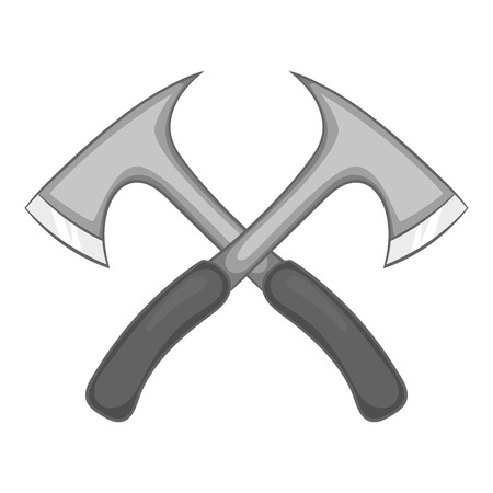 Two axe icon in black monochrome style isolated on white background. Equipment symbol vector illustration