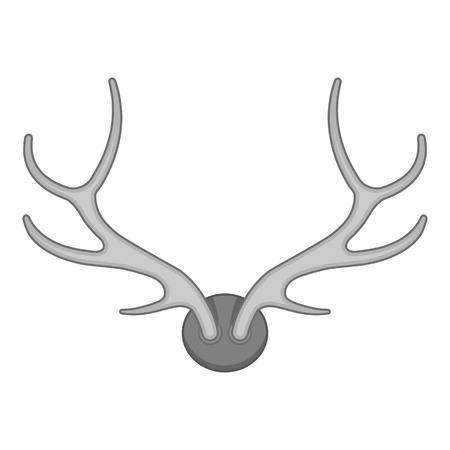 horny: Deer antler icon in black monochrome style isolated on white background. Trophy symbol vector illustration