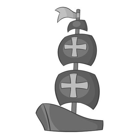black maria: Ship of Columbus icon in black monochrome style isolated on white background. Maritime transport symbol vector illustration