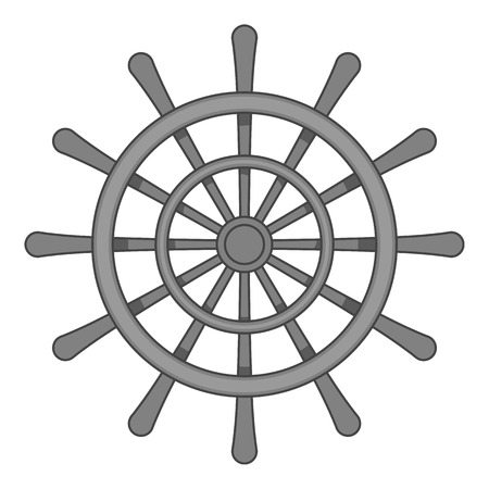 schooner: Wheel of ship icon in black monochrome style isolated on white background. Ship control symbol vector illustration Illustration