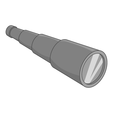 observation: Spyglass icon in black monochrome style isolated on white background. Observation symbol vector illustration Illustration