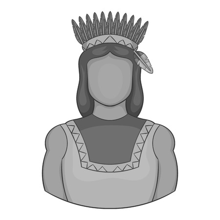 American indian icon in black monochrome style isolated on white background. People symbol vector illustration