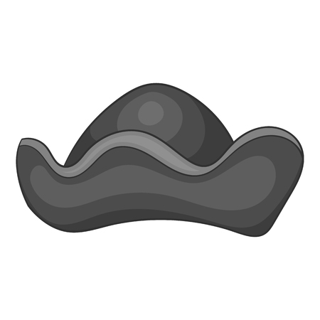 cocked hat: Pirate hat icon in black monochrome style isolated on white background. Headdress symbol vector illustration