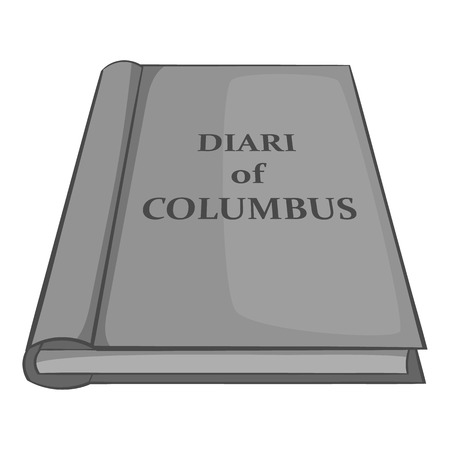 voyager: Diary of Columbus icon in black monochrome style isolated on white background. History symbol vector illustration
