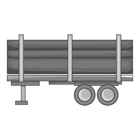 logging: Logging truck with logs icon in black monochrome style isolated on white background. Felling symbol vector illustration