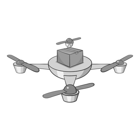 Quadcopter icon in black monochrome style isolated on white background. Device symbol vector illustration Illustration