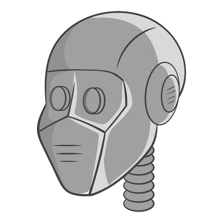 invade: Robot head icon in black monochrome style isolated on white background. Technology symbol vector illustration