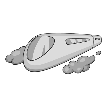 high speed train: High speed train icon in black monochrome style isolated on white background. Transport symbol vector illustration Illustration
