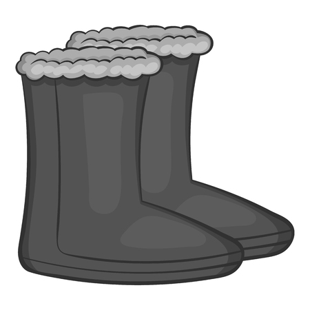 hick: Felt boots icon in black monochrome style isolated on white background. Shoes symbol vector illustration Illustration