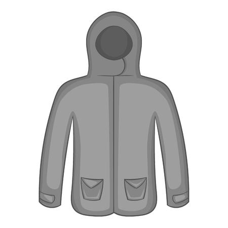 winter jacket: Mens winter jacket icon in black monochrome style isolated on white background. Clothing symbol vector illustration Illustration