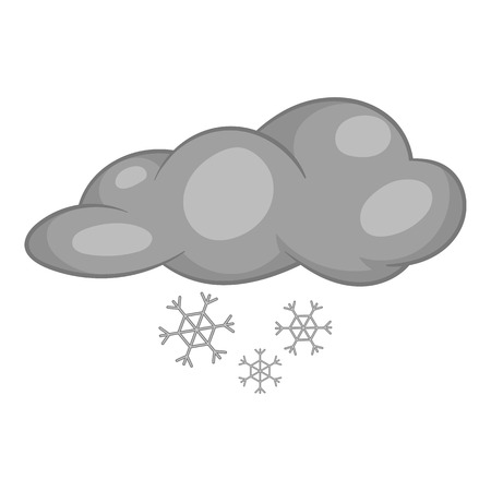 sleet: Clouds and snow icon in black monochrome style isolated on white background. Weather symbol vector illustration Illustration