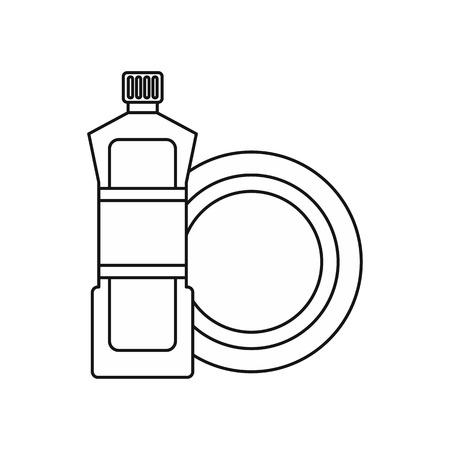 dishwashing: Bottle for dishwashing icon in outline style isolated on white background. Cleaning symbol vector illustration