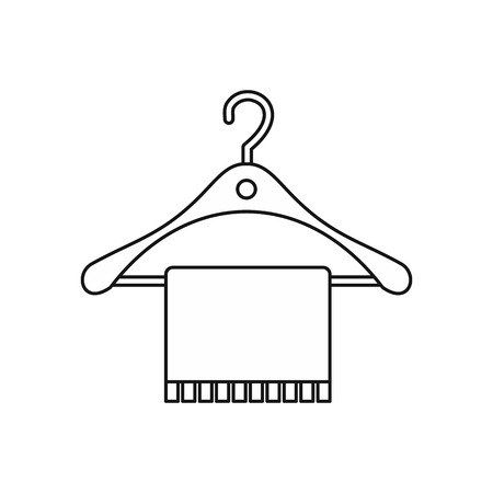 Hanger And Towel Icon In Outline Style Isolated On White Background Classy Bathroom Sign Vector Style
