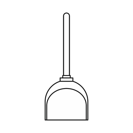 whisk broom: Dustpan icon in outline style isolated on white background. Cleaning symbol vector illustration Illustration