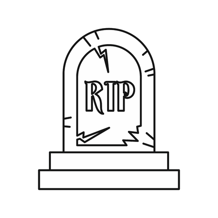 funerary: Grave RIP icon in outline style isolated on white background. Death symbol vector illustration