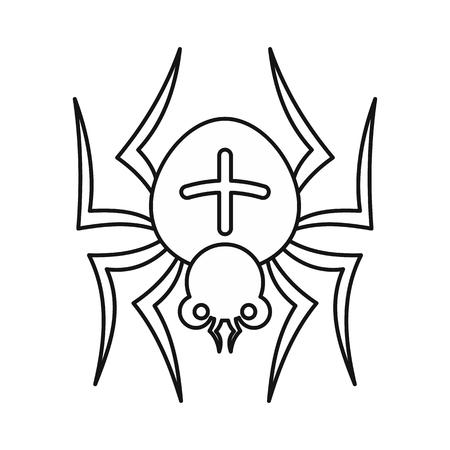 Spider-pictogram in grote lijnen stijl op een witte achtergrond. Insect symbool vector illustratie
