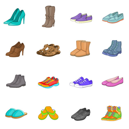 Shoe icons set in cartoon style. Men and women shoes set collection vector illustration Illustration