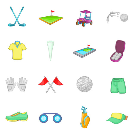 caddy: Golf icons set in cartoon style. Golf equipment set collection vector illustration