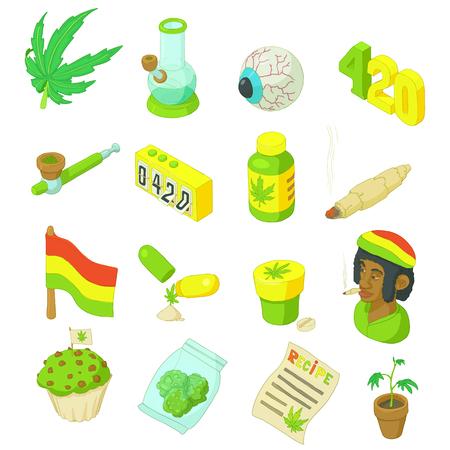 rasta hat: Rastafarian icons set in cartoon style. Marijuana smoking equipment set collection vector illustration Illustration