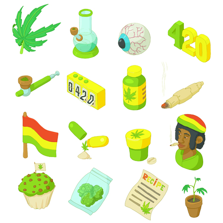 Rastafarian icons set in cartoon style. Marijuana smoking equipment set collection vector illustration Illustration