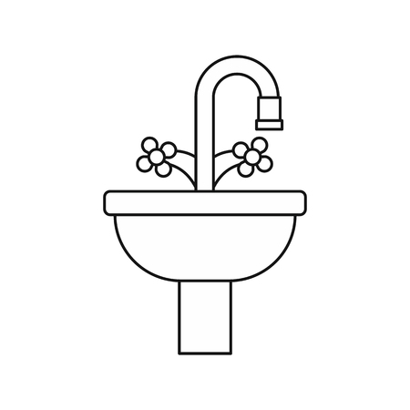 cold room: Sink in the bathroom icon in outline style on a white background vector illustration
