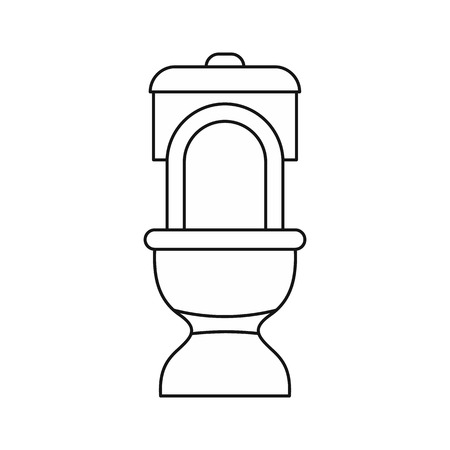 septic: Toilet bowl icon in outline style on a white background vector illustration