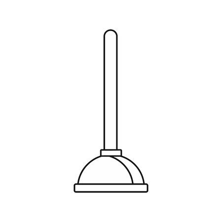WC-Kolben-Symbol in Outline-Stil auf einem weißen Hintergrund Vektor-Illustration