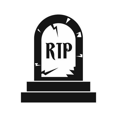 Ikona Tombstone w prostym stylu na białym tle ilustracji wektorowych Ilustracje wektorowe