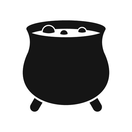 broth: Witch cauldron icon in simple style on a white background vector illustration