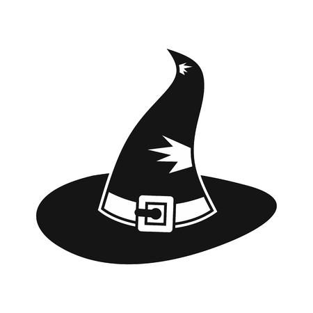 Witch hat icon in simple style on a white background vector illustration Illustration