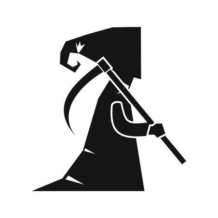 Grim reaper icon in simple style on a white background vector illustration Illustration