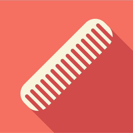 personal grooming: Hair comb icon in flat style isolated with long shadow vector illustration Illustration