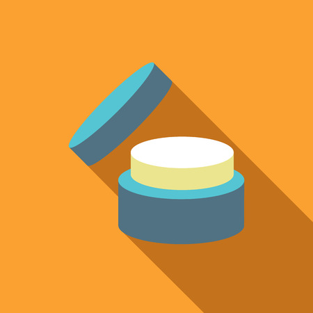 complexion: Cosmetic face cream jar icon in flat style isolated with long shadow vector illustration