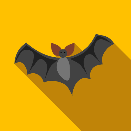 Flight of a bat ficon in flat style isolated with long shadow vector illustration